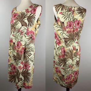 Bahama Beach Sheath Dress Vintage 1990s Tan & Pink